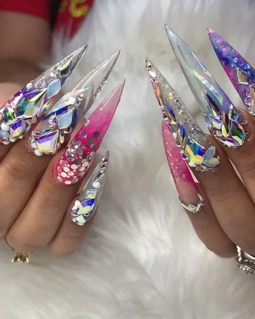 25 Nail Art Ideas For Ultimate Fashion Trend In 2020 Stiletto Nails Designs Bling Acrylic Nails Swag Nails