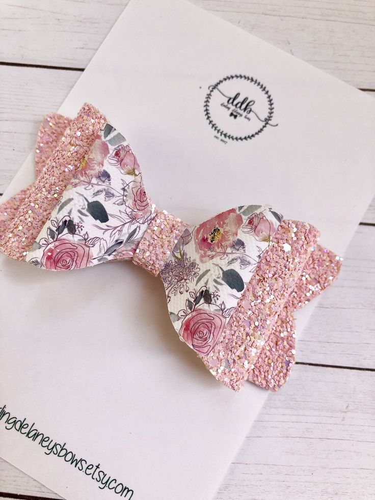 Items similar to Pink floral hair bow, leather hair bow, floral glitter bow, pink glitter hair bow,