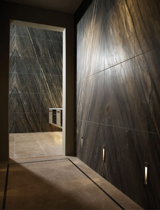 Reflect: Decorating with stone. continual bookmatched brushed Quartzite from our Dream Stone Collection along with Corus.  Lapicida.com