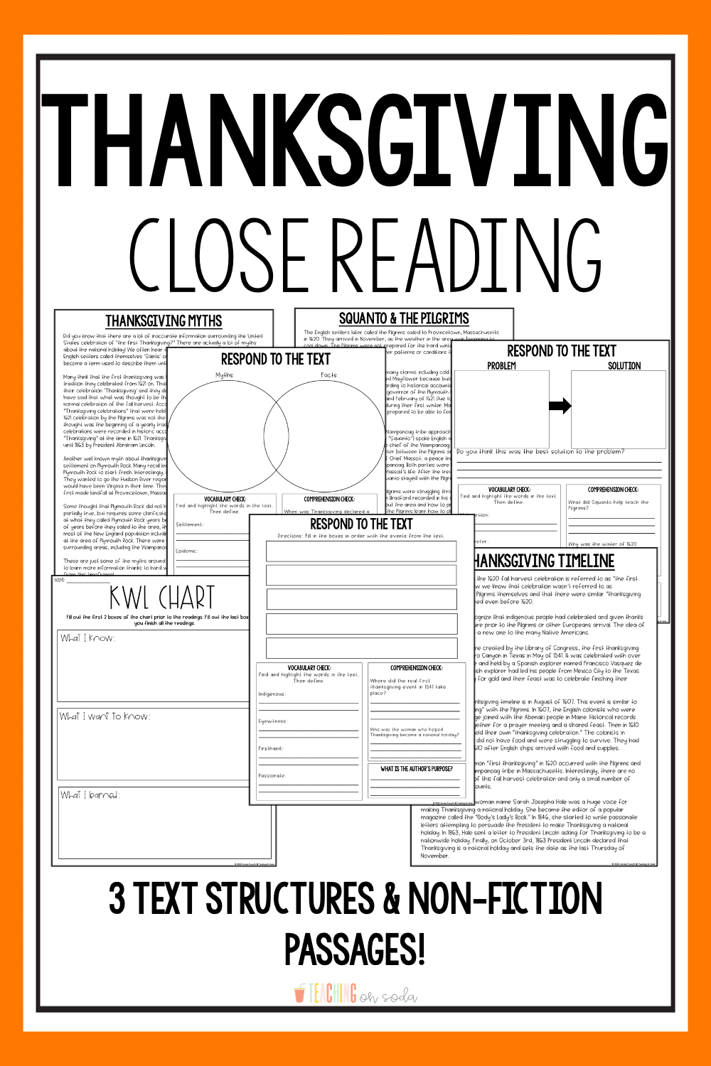 Thanksgiving Close Reading Passages Kwl Chart Text Structures In 2020 Thanksgiving Reading Passages Close Reading Passages Thanksgiving Passages [ 1500 x 1000 Pixel ]