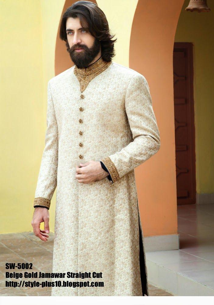 Beige Gold Jamawar Straight Cut Sherwani From Amir Adnan 39 S