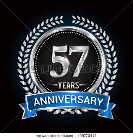 Birthday celebration logo 57 years with wreath, laurel, blue ribbon and silver ring