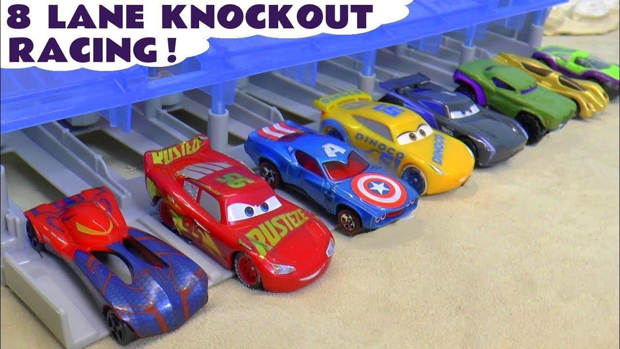 Cars Mcqueen And Hot Wheels Avengers 8 Lane Knockout Racing Tt4u Disney Cars Toys Hot Wheels Disney Cars