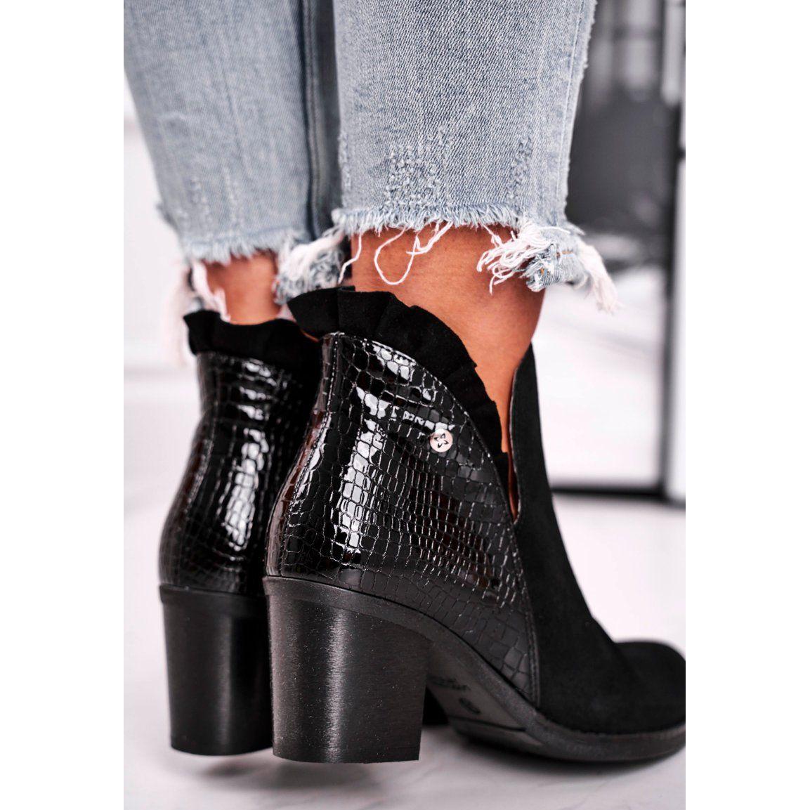 Botki Damskie Na Slupku Skorzane Wiosenne Maciejka Czarne 04833 01 Ankle Boot Shoes Fashion
