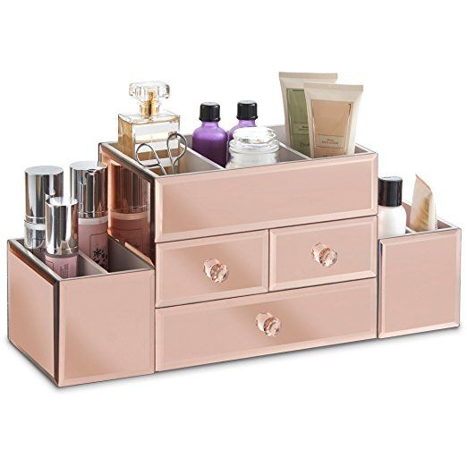 large mirrored rose gold glass jewelry box cosmetic makeup rh pinterest com Undermount Drawer Guides Drawer Construction