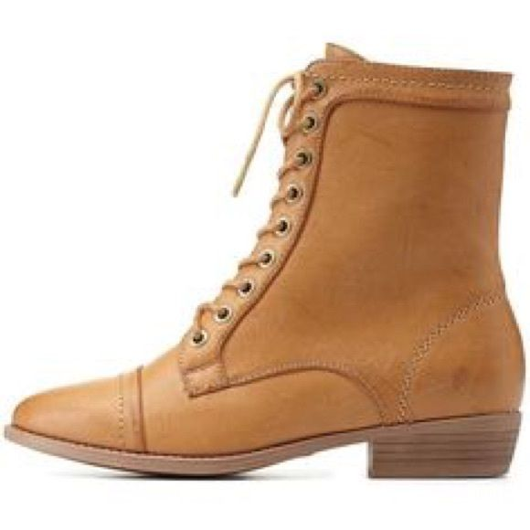 Charlotte Russe combat boots  Tan combat boots. Worn once. Has a couple small creases on toe but nothing major. Charlotte Russe Shoes Combat & Moto Boots