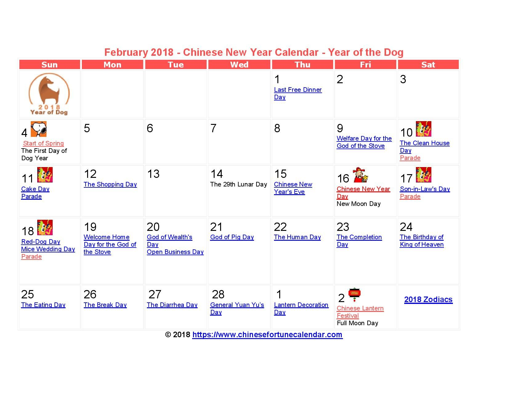 2018 February Calendar for Chinese New Year Day February