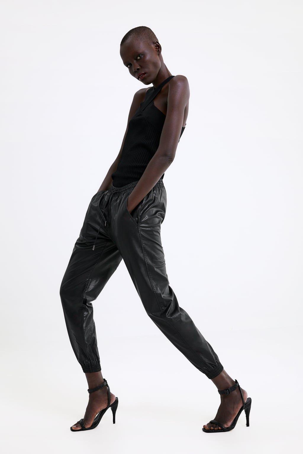 Pantalon zw premium style jogging en cuir synthétique | Cuir