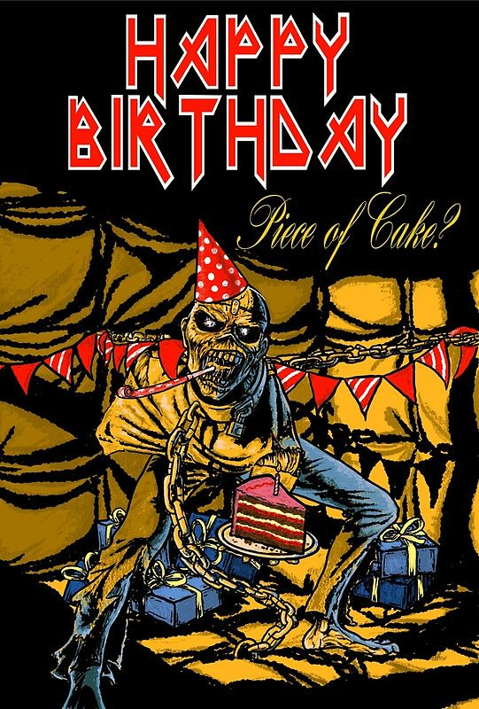 heavy metal birthday memes Iron Maiden insprired birthday card | Music art in 2019  heavy metal birthday memes