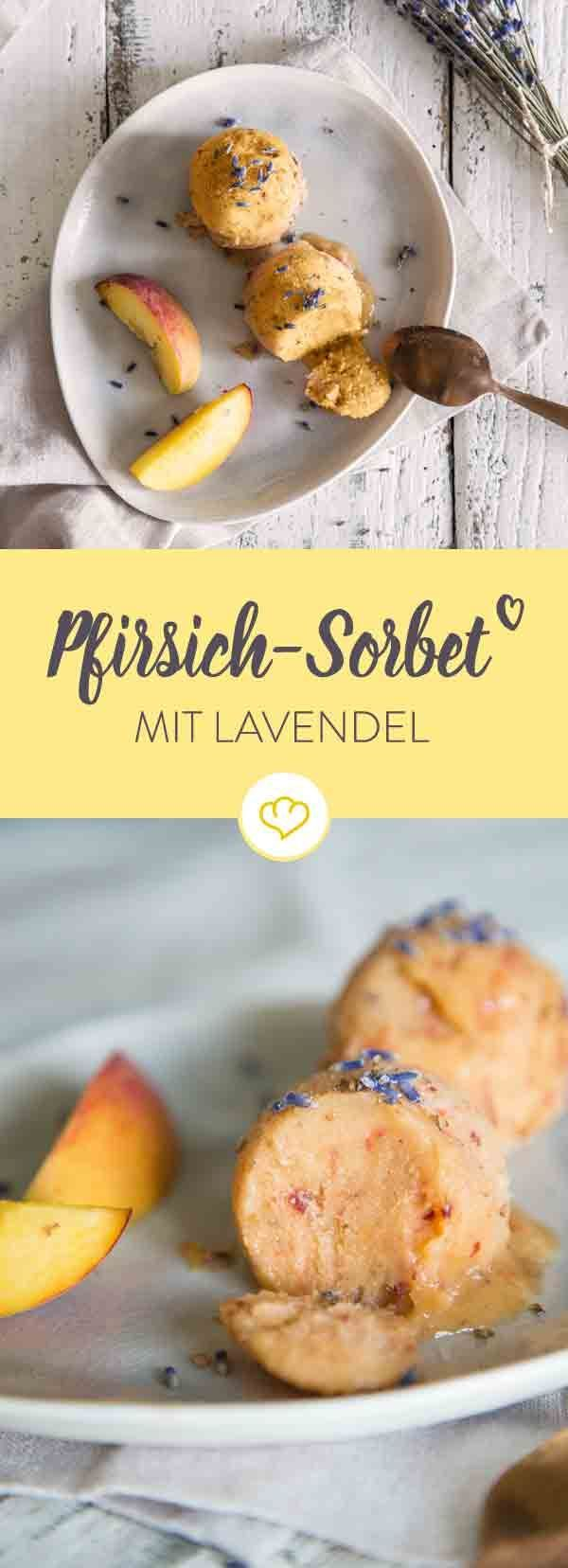 pfirsich sorbet mit lavendelbl ten rezept mahlzeiten pinterest eismaschine pfirsiche. Black Bedroom Furniture Sets. Home Design Ideas