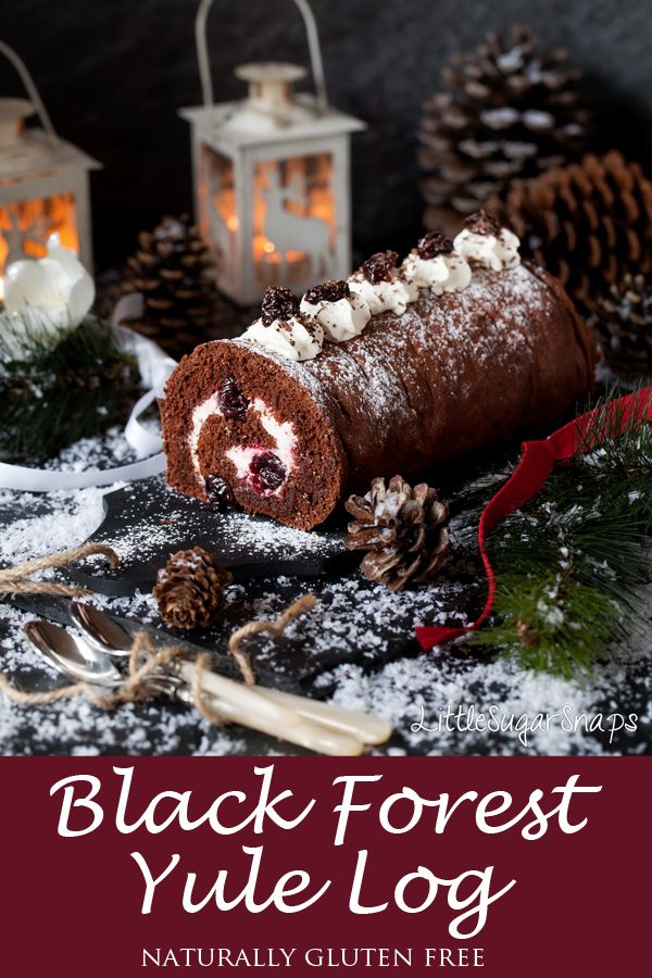 Rustic Black Forest Yule Log - Littlesugarsnaps