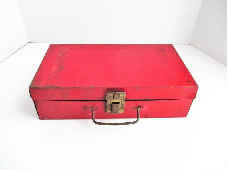 Vintage Red Tool Box Utility Box Craft Box Red Metal Etsy Metal Tool Box Tool Box Utility Box