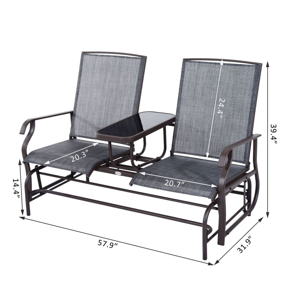 Glider 2 seater patio rocking chair metal swing bench furniture table outsunny