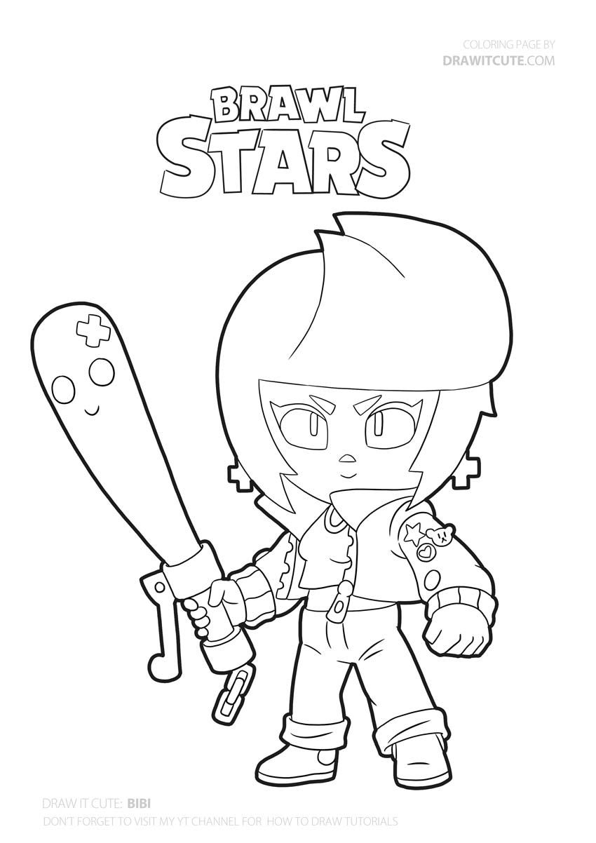 How To Draw Bibi Super Easy Brawl Stars Drawing Tutorial With Coloring Page Draw It Cute In 2020 Star Coloring Pages Coloring Pages Bat Coloring Pages