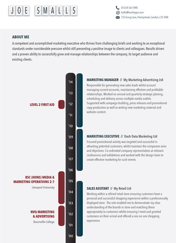 the timeline cv    resume design from hashtag cv