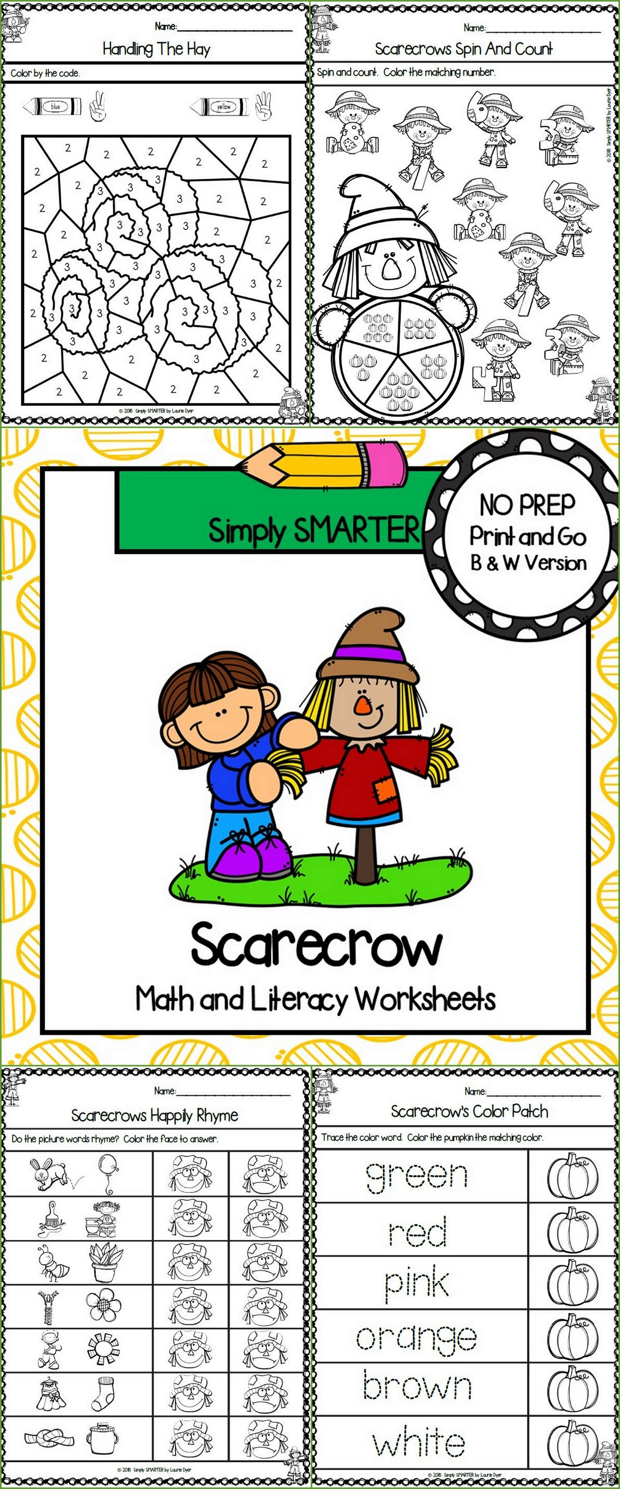 Scarecrow Themed Kindergarten Math And Literacy Worksheets