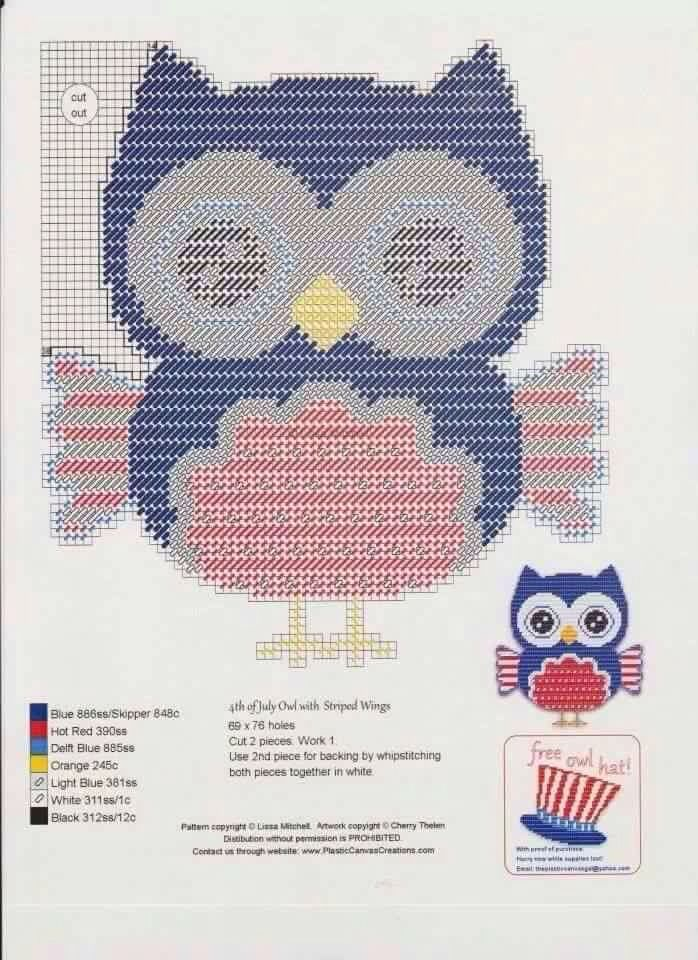 4th Of July Owls Set 3 6 Plastic Canvas Patterns Canvas