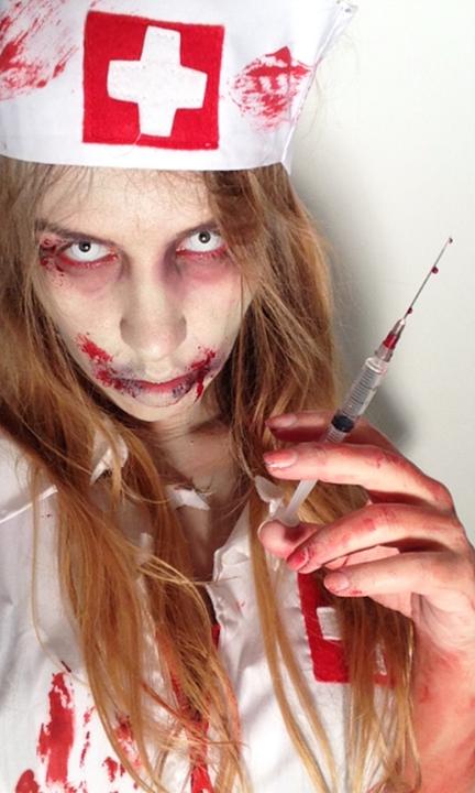 Sp cial halloween pour vous d guiser en infirmi re zombie allez voir sur la chaine de - Tuto maquillage zombie ...