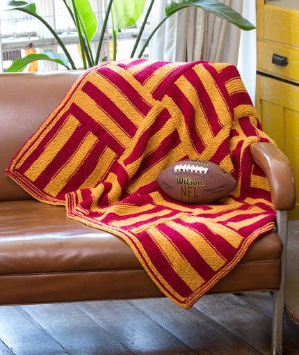 Knit Stadium Lapghan Free Pattern From Red Heart Yarns Knit And