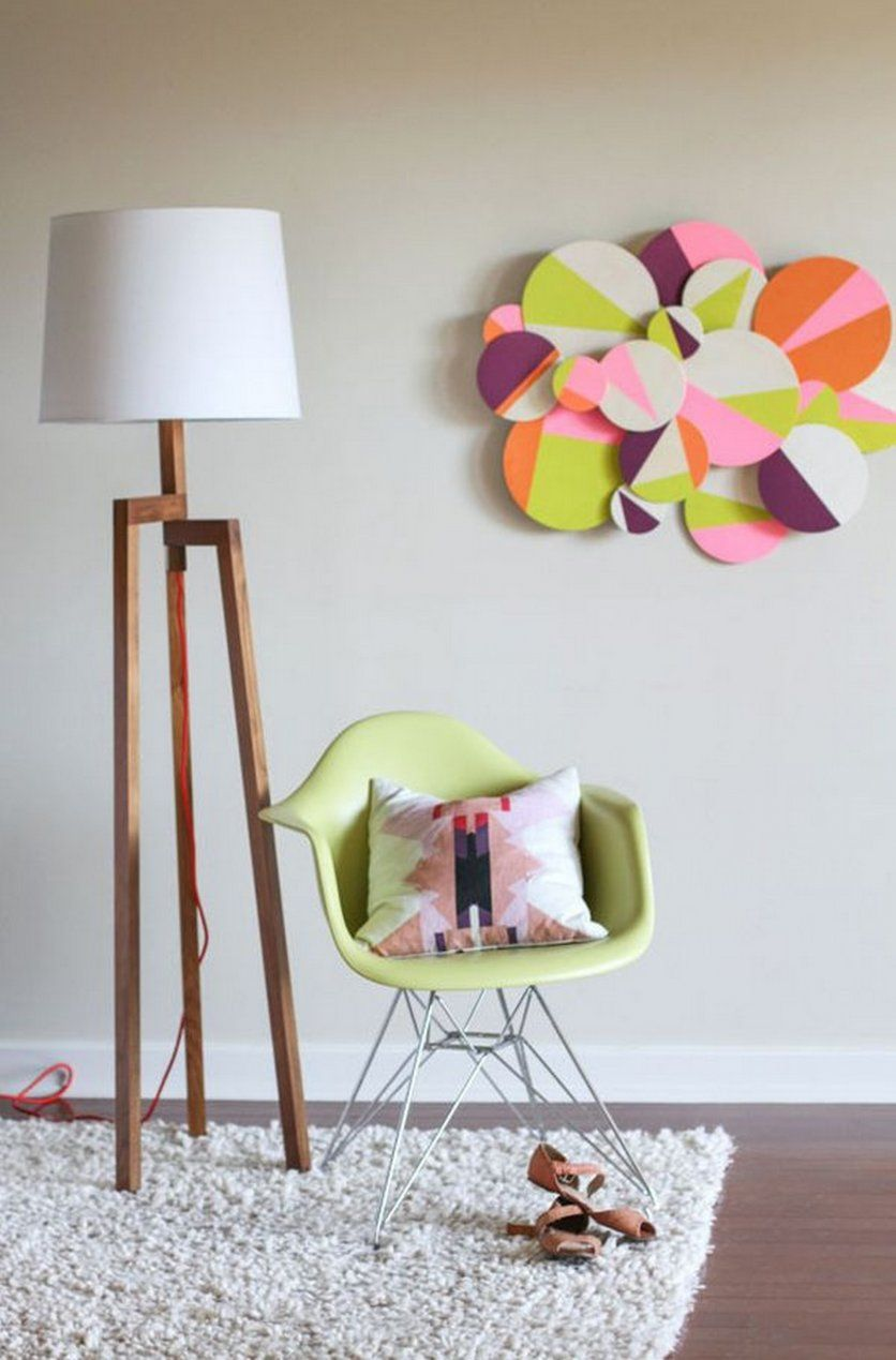 Creative Art And Craft For Home Decoration Easily To Create Simple Colorful Paper Craft Diy Decorations Nearby Floorlamp Home Diy Creative Wall Decor Decor