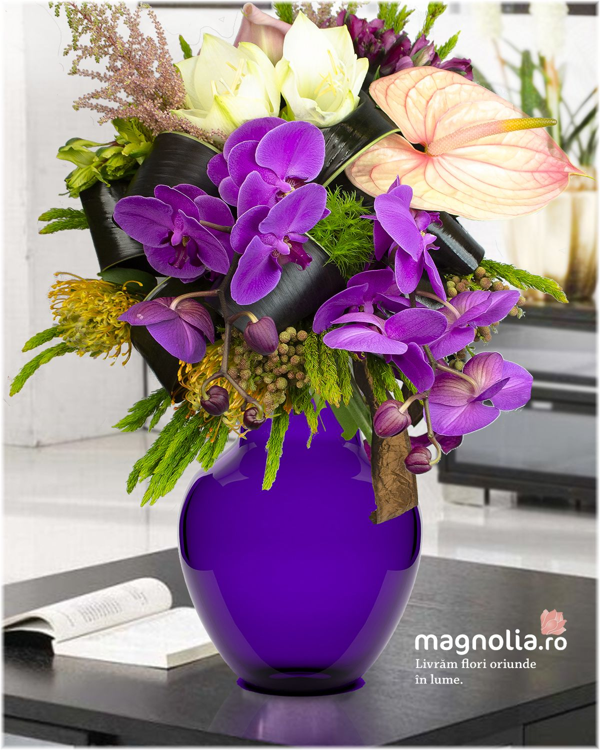Exotic flower bouquet with purple orchids and anthurium. Buchet ...