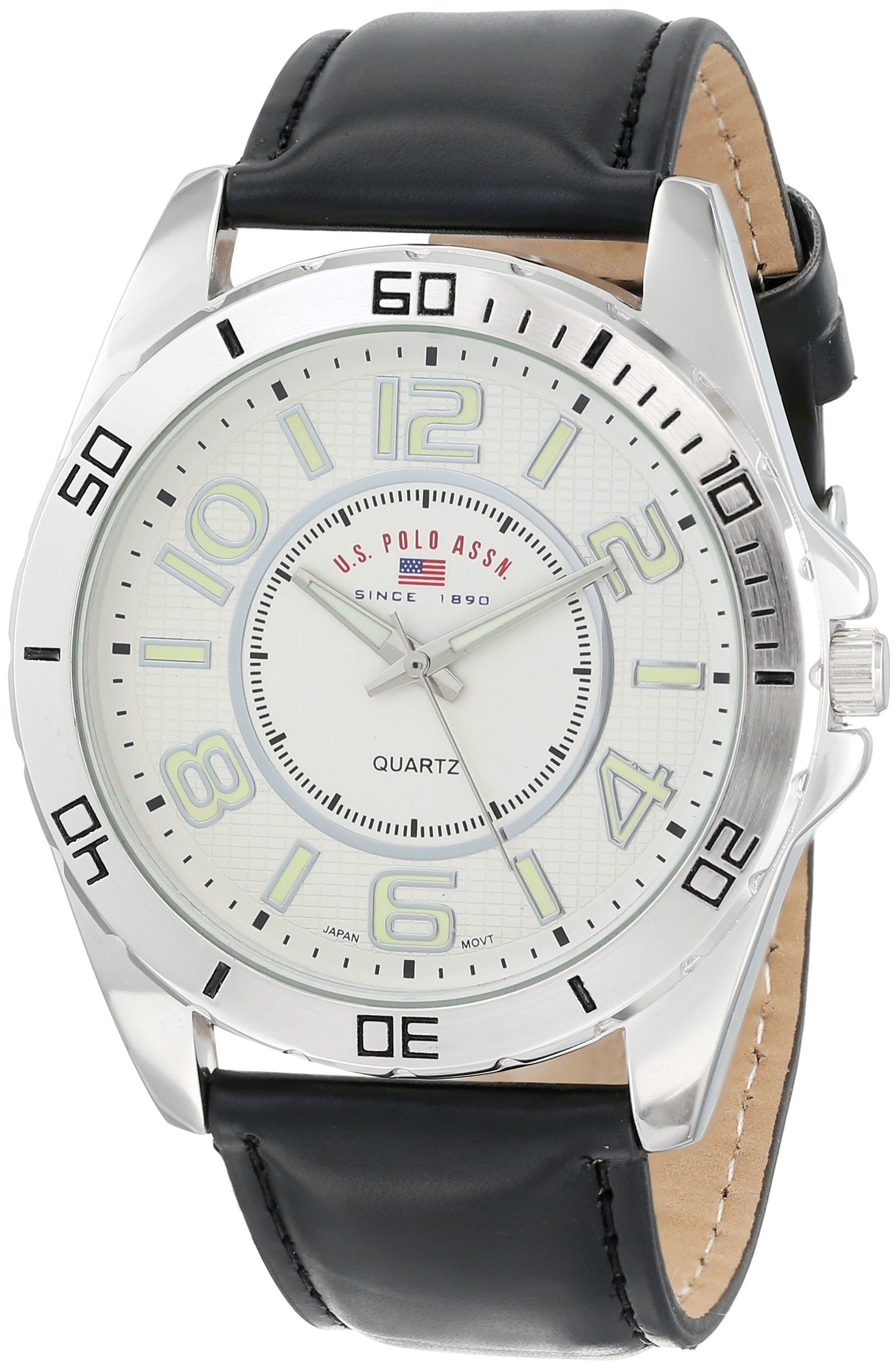 U S Polo Assn Classic Men S Us5162exl Silver Dial Extra Long Black Strap Watch Mens Watches Silver Classic Watches Men Mens Watches Blue