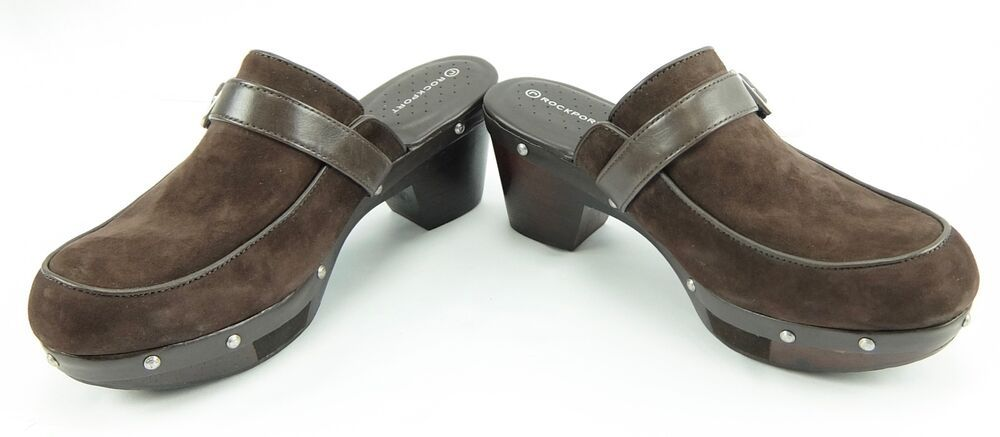 Rockport Shoes Womens Clogs Brown Suede