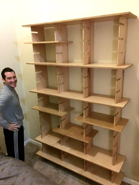 Slot Joint Adjustable Bookshelves Workshop Storage