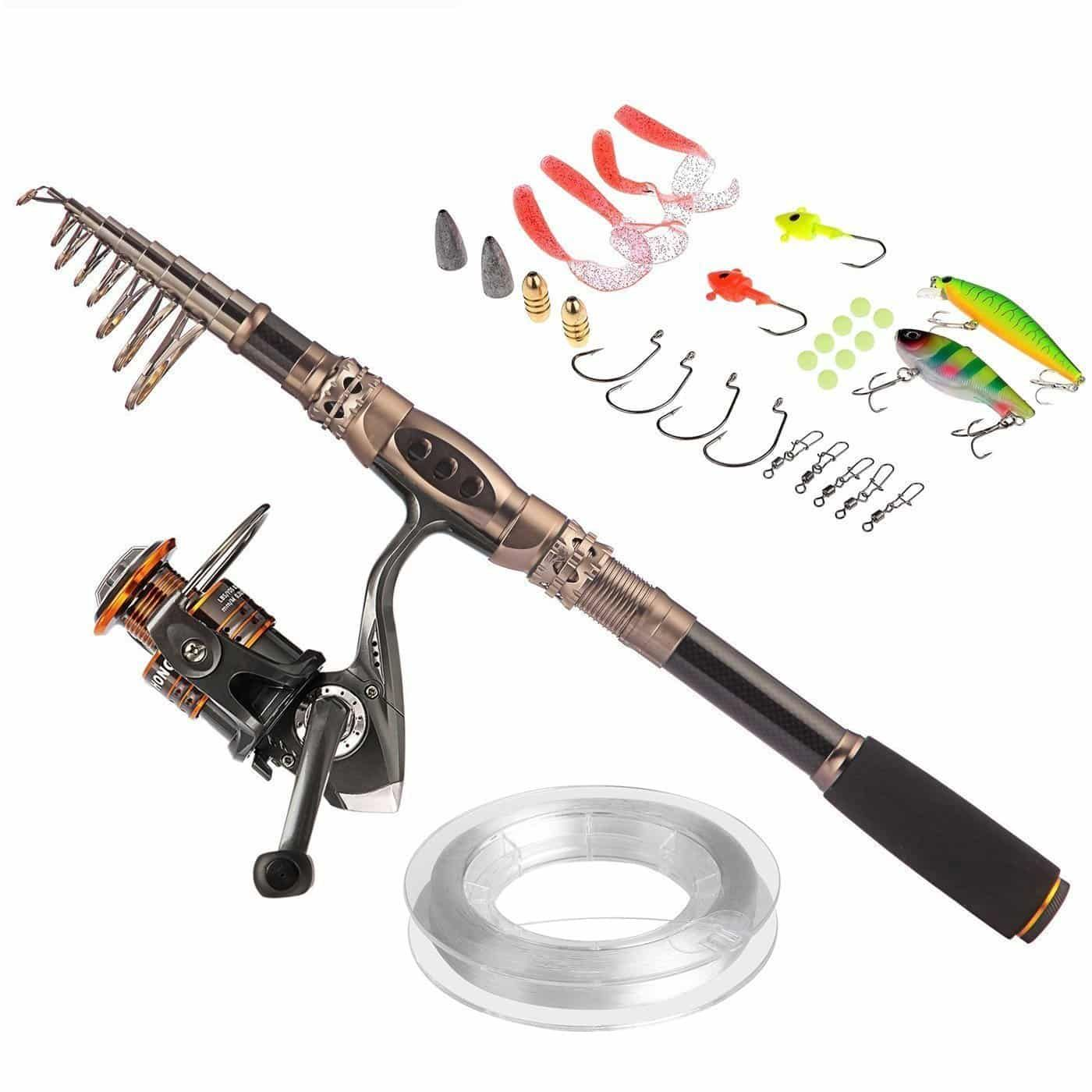 Image result for PLUSINNO Fishing Rod and Reel Combos Carbon Fiber Telescopic Fishing Rod with Reel Combo Sea Saltwater Freshwater Kit Fishing Rod Kit