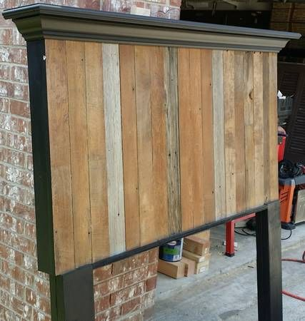 Queen Size barn wood headboard with crown molding shelf ...
