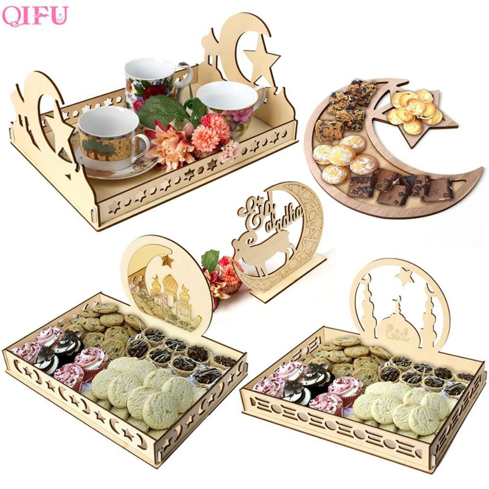 Delicate And Beautiful Wooden Eid Mubarak Home Decoration Dessert Pastry Tray