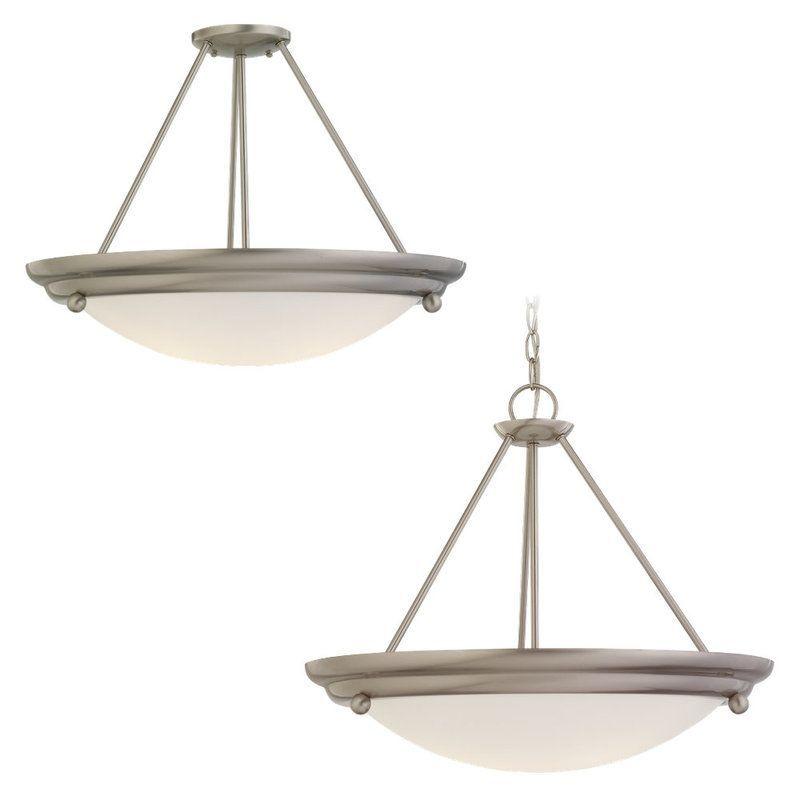 Sea Gull Lighting 69133BLE Centra Convertible 3 Light Energy Star Title 24 Bowl Brushed Stainless Indoor Lighting Pendants