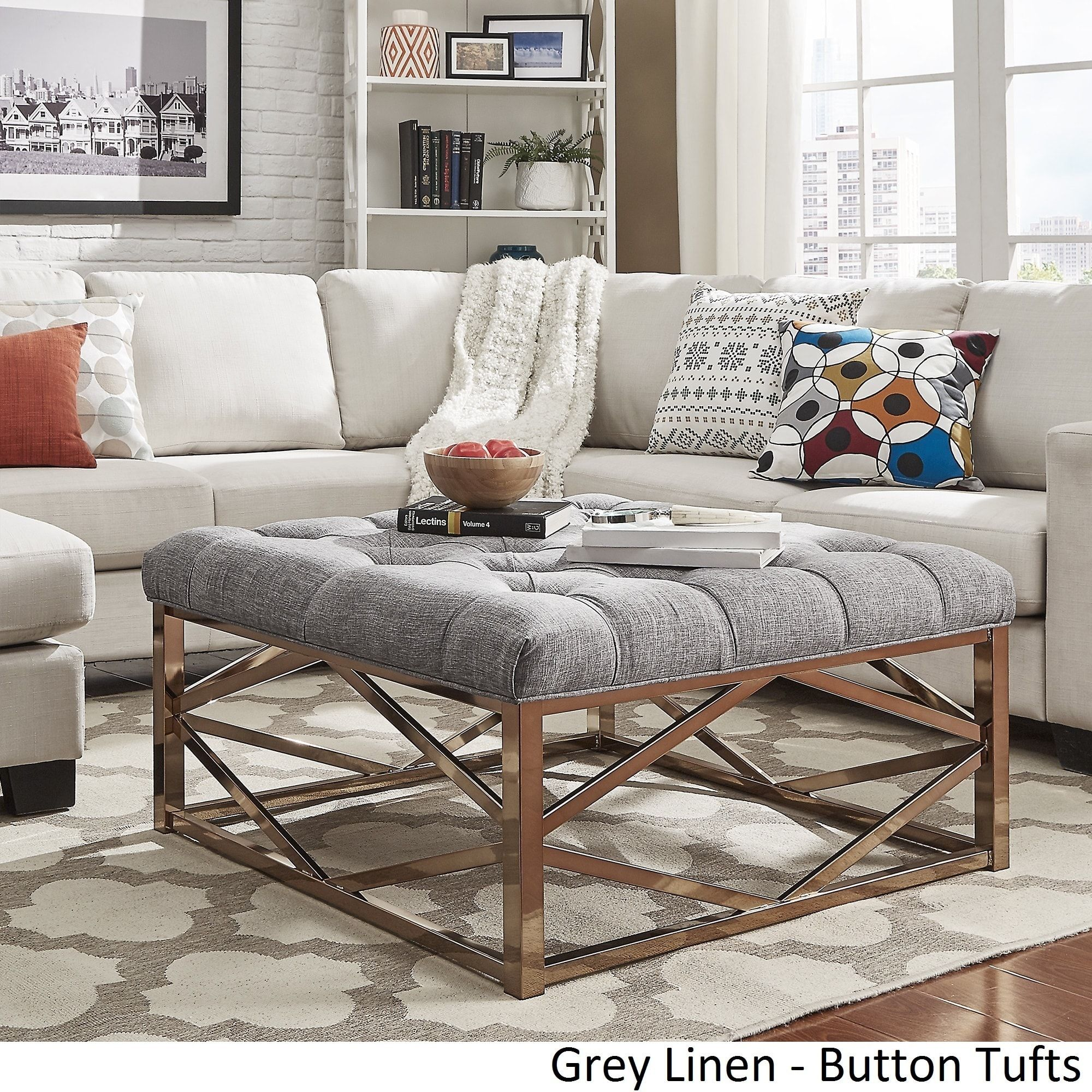 Solene Geometric Base Square Ottoman Coffee Table