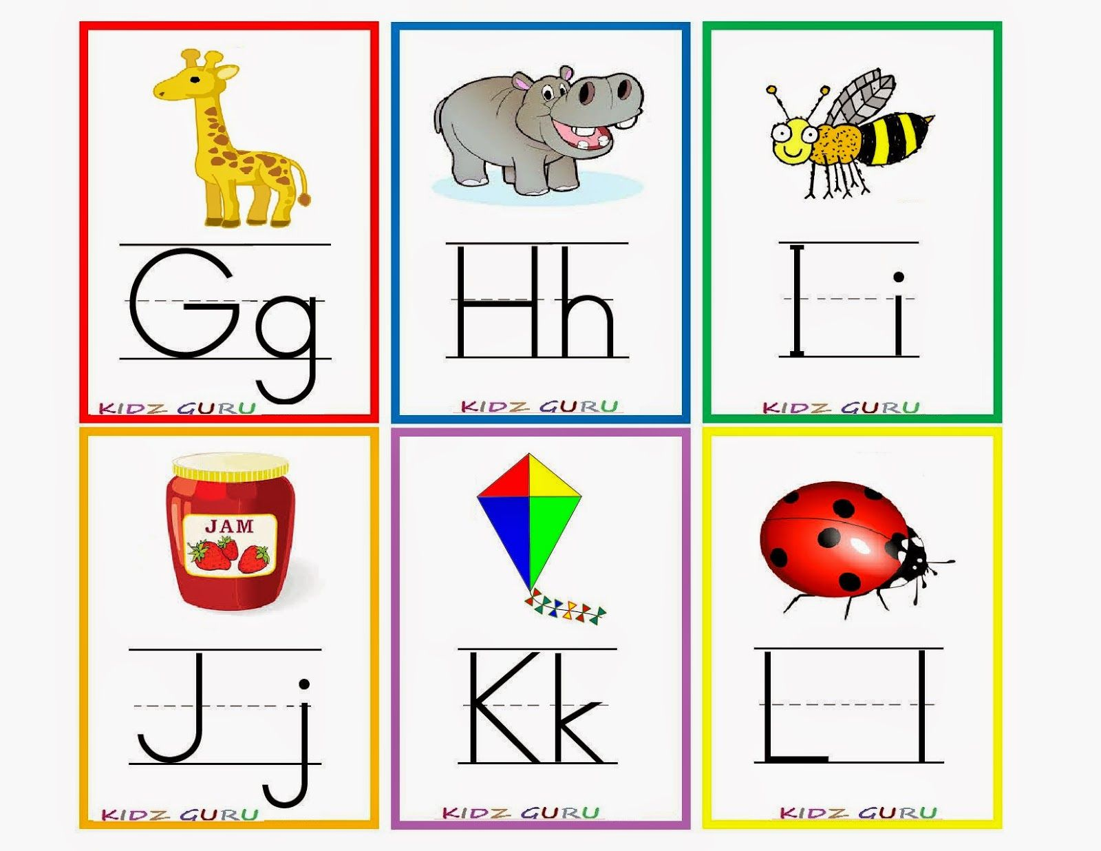 Printable Alphabet Flash Cards Kindergarten