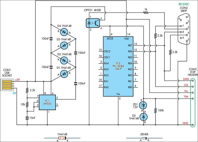 USBPowered PIC Programmer Circuit Diagram Electronics