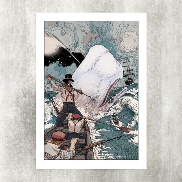 The Epic Battle Between Captain Ahab And White Leviathan Moby Dick Pictured On A 4 Color Offset Print