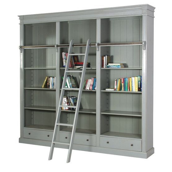 Buy the Grey Fayence Library Bookcase With Ladder with free delivery from Turnbull and Thomas