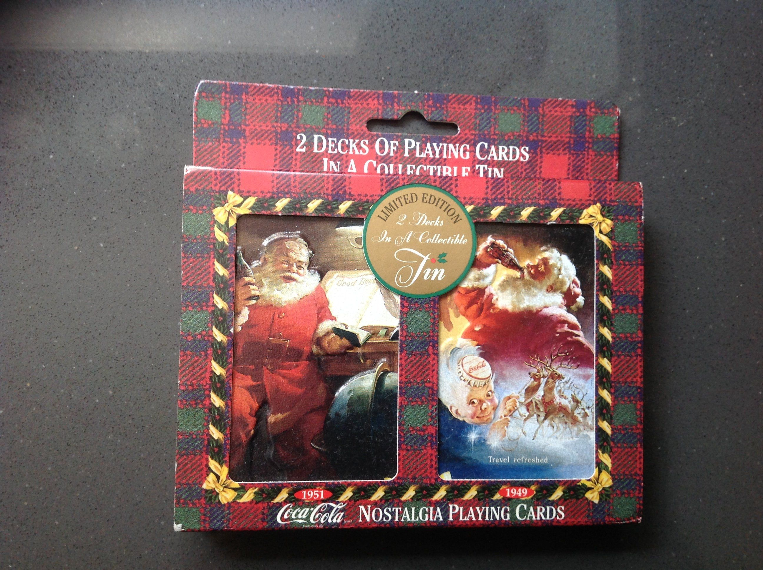 2 Decks 1995 COCA-COLA CHRISTMAS NOSTALGIA PLAYING CARDS IN COLLECTABLE TIN
