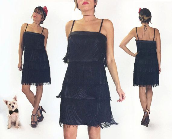 Vintage 80s does 20s Black Vintage Fringe by GimmeShelterVintage