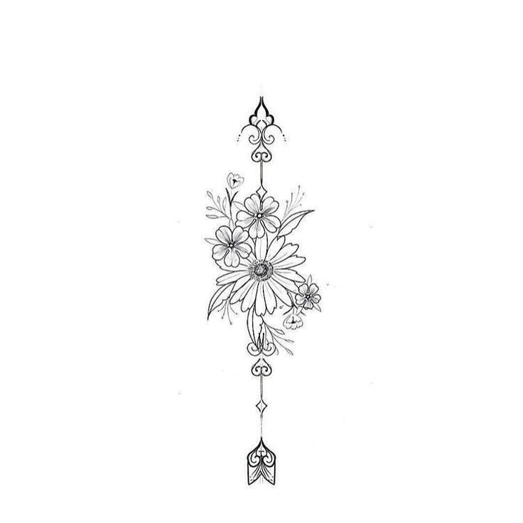 No arrow … I think. with 3 daisies. I like all the foliage – tattoo… #flowertattoos - Modern