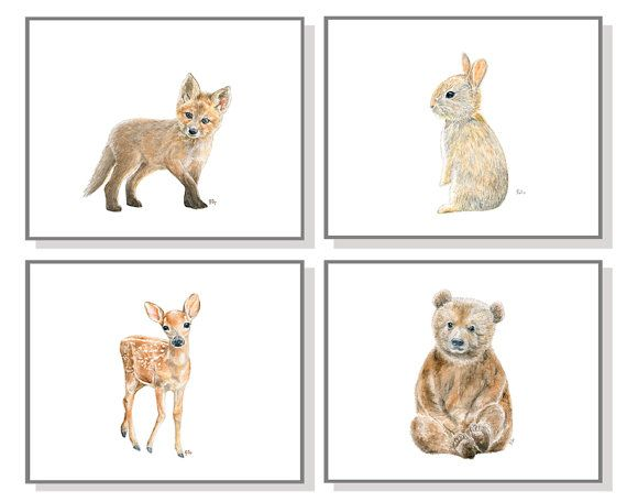 Woodland Nursery Art Woodland Nursery Decor Forest Nursery Prints