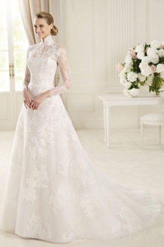 Vintage Princess High Neck Long Sleeves Illusion Back Lace Modest Wedding Dress Wedding Dresses Long Sleeve Wedding Dress Lace Online Wedding Dress