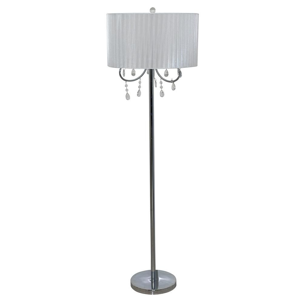 Catalina Lighting 58 In Chrome Floor Lamp With White Chandelier Style Shade