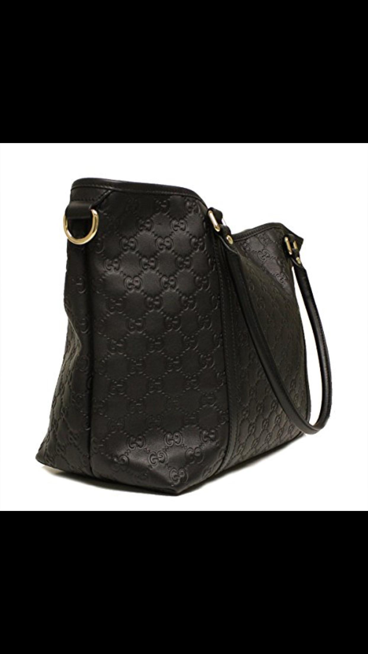 7de209f474ab Gucci Black Guccissima Leather GG LogoTote Bag   1