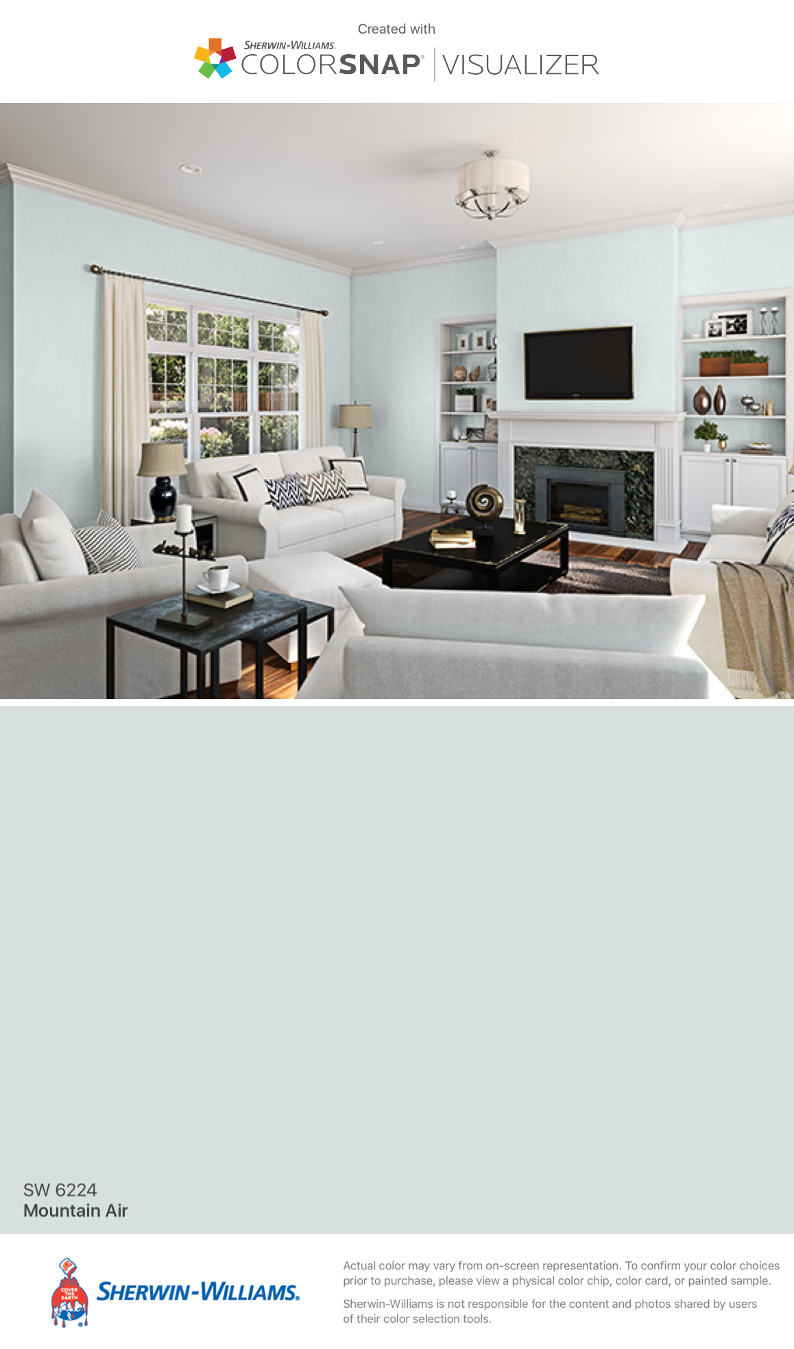 Sherwin Williams Mountain Air SW 6224 Paint colors