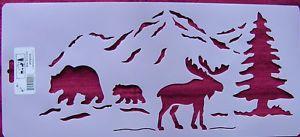 Stencil Bear Mountain Moose Tree Home Decor Stensource W9048 Woods Outdoors Ebay Moose Bear Mountain Stencils