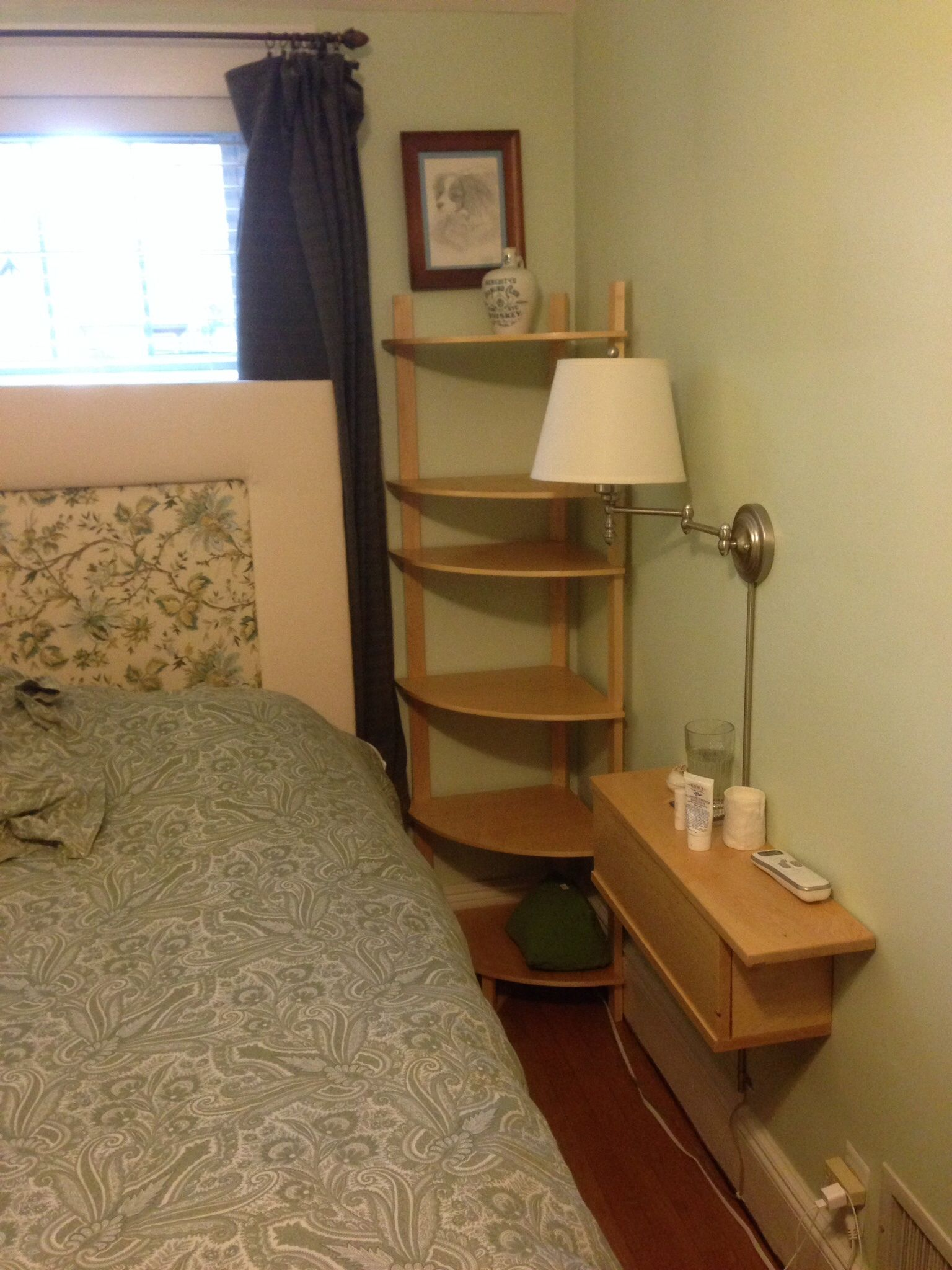 Cream Bedside Tables: Cream Polished Wooden Corner Side Table Having 6 Tier Open