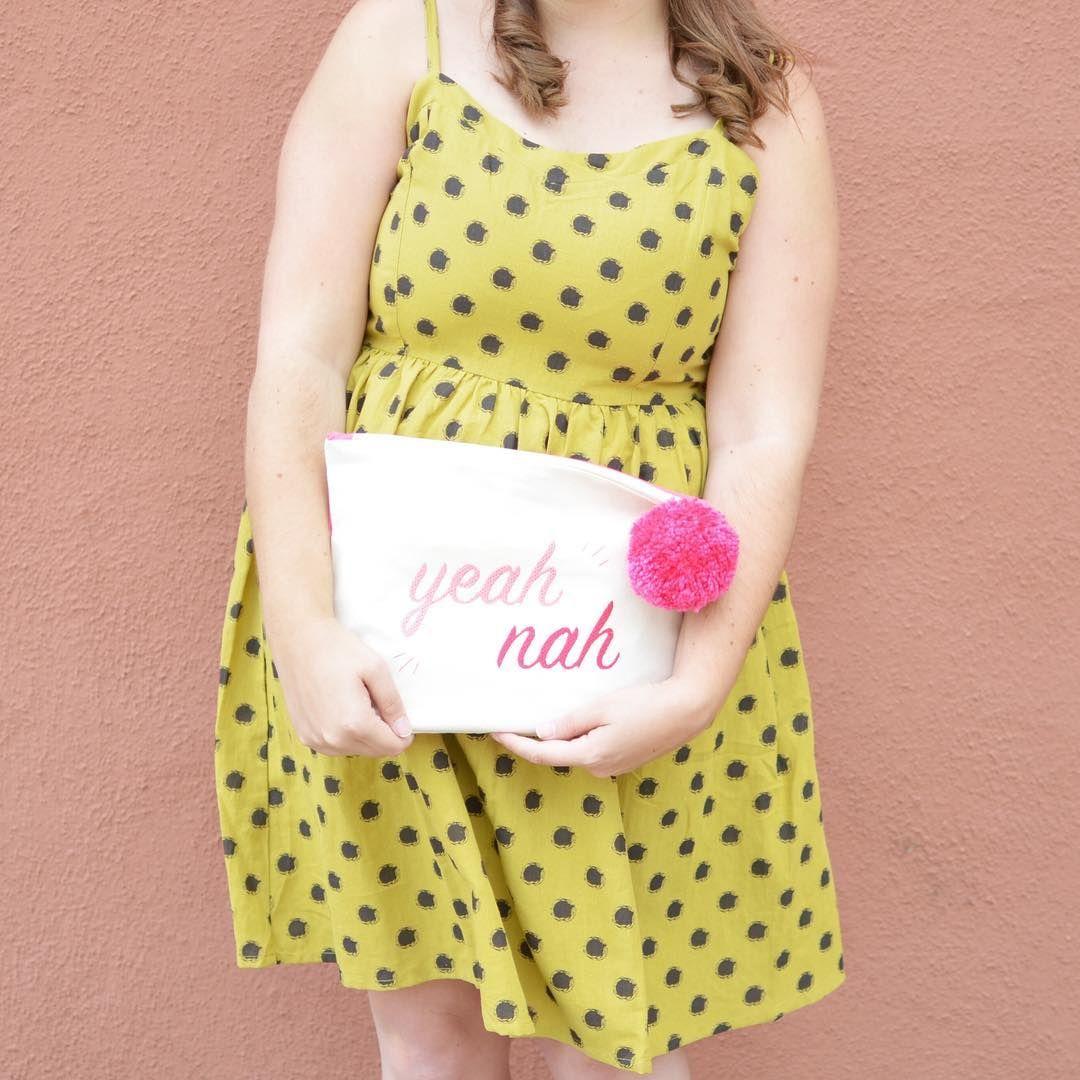 Yeah, Nah clutch. Yellow polka dot dress   @room334