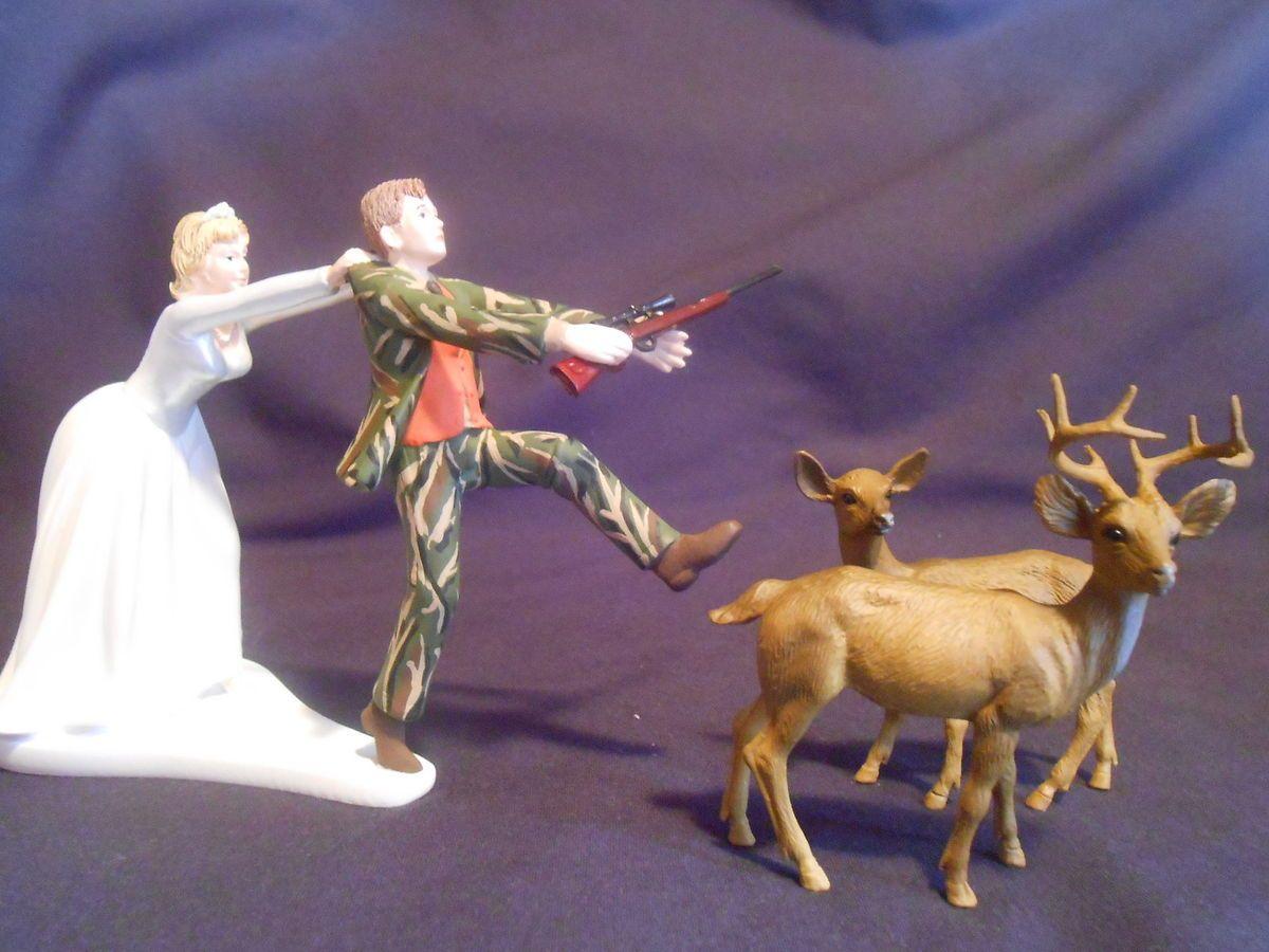 Funny Wedding Cake Topper Real Tree Camo Camoflauge Hunting Deer