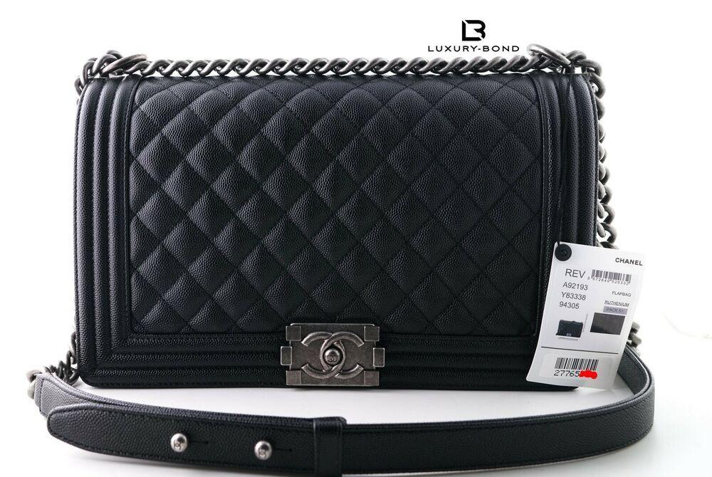 0d5a9540c3dc 2018 NWT CHANEL Le Boy NEW Medium Sz BLACK CAVIAR RUTHENIUM Flap Bag Mini  WoC